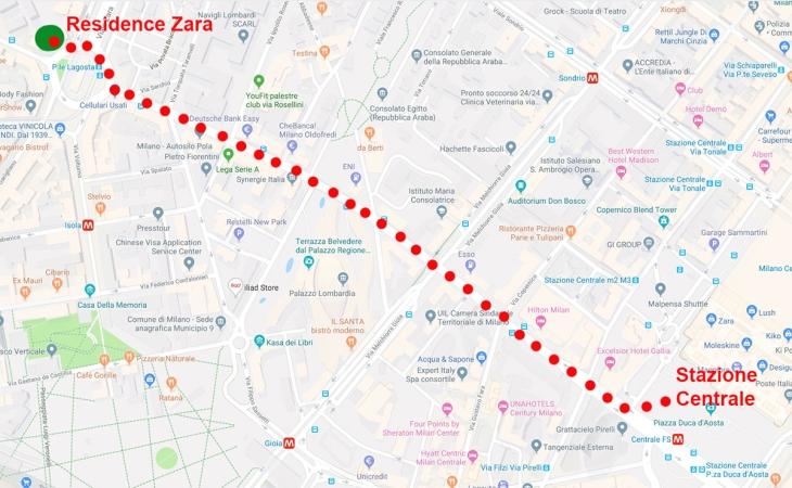 Mappa da Stazione a Zara
